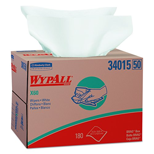 Wypall X60 Reusable Wipers (34015) in Brag Box, White, 180 Sheets / Box, 1 Box / Case