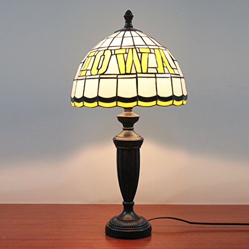 HDO 12-inch NBDL Iowa Energy Stained Glass Table Lamp (Iowa Glass Stained)