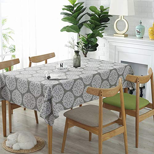 Gray Tablecloth Flower Decoration American Tablecloth Picnic Party Cotton Linen Table Cloth Rectangular Home Textile  Color 1 B07SBDDQM3