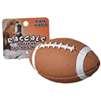 Rascals Vinyl Football Dog Toy, 4 Inch, with in-Line Squeaker