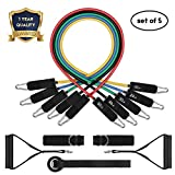 Resistance Band Set, Leekey 11pc Exercise Bands Workout bands with Carry Bag, Door Anchor, Handles, Ankle Straps for Body Stretching Physical Therapy and Resistance Training