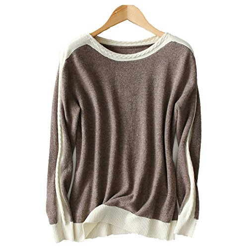 VenuStar Ladies Stylish Sweater Top Pullover Jumper 100% Pure Cashmere Wool With Cable Knit On The Neck and Sleeves (M, - 100% Cable Cashmere