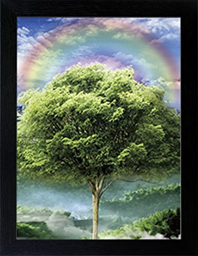 3D Lenticular Picture Poster Artwork Unique Wall Decor Holographic Pictures Optical Illusion Flipping Images (With Frame, Four Seasons) - Eye Picture