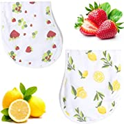 Softest Bamboo Cotton Muslin Burp Cloth Bib Set - Lead Free Snaps, Adjustable, Super Absorbent & Soft - 2 Pack of Strawberry Lemon Prints - Perfect Unisex Baby Registry Shower Gift for Boys, Girl