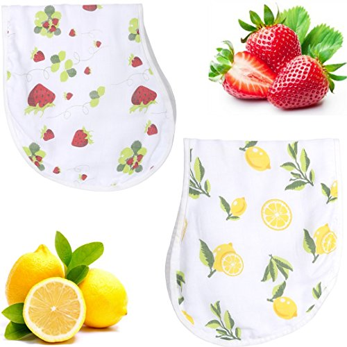 Organic Bamboo Cotton Muslin Burp Cloth Bib Set - Lead Free Snaps, Adjustable, Super Absorbent & Soft - 2 Pack of Strawberry Lemon Prints - Perfect Unisex Baby Registry Shower Gift for Boys, (Adjustable Free Gift)