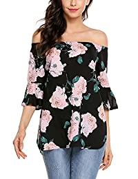 Women Off Shoulder Floral Blosue Casua Bell Sleeve Chiffon Boho Tops Shirt