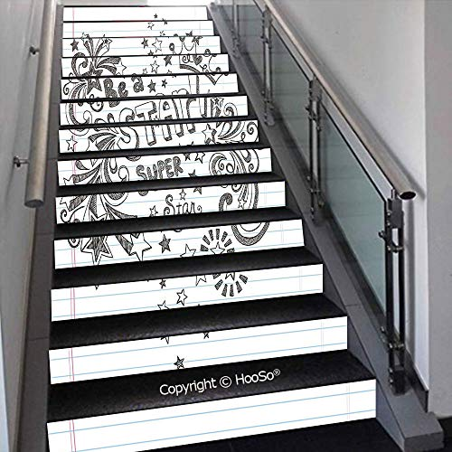 PUTIEN Self-Adhesive Stair Risers Stickers Vinyl Staircase Stickers Stairway Decal Wallpaper, Waterproof, Anti-Stain,Symbols of Halloween Witch Hat Cauldron Fall Jack o Lantern,39.3