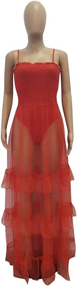 Women Sleeveless Sheer Mesh Leotard Bodysuit Jumpsuit Tops Strap Tunic Long Maxi Dress 3 Piece Outfit