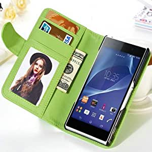 Luxury Wallet PU leather case For Sony Xperia Z2 C770x D6502 D650 L50W L50 Flip With Stand 2 Credit Card Holder Photo Frame BOB --- Color:white