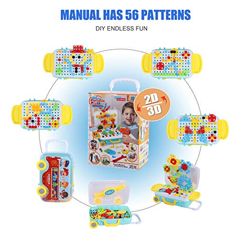 Bldaxn Building Block Games Set with Toy Drill & Screwdriver Tool Set | Educational Building Blocks Construction Games| Develop Fine Motor Skills for oys Girls 4 5 6 7 8 Year Olds