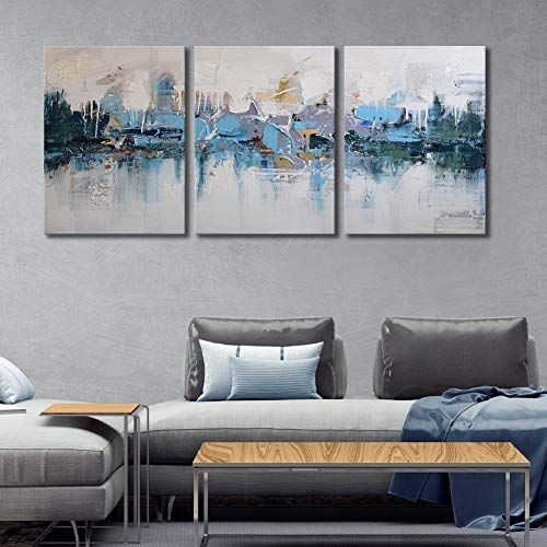 ARTLAND Modern 100% Hand Painted Framed Abstract Oil Painting Blue Villages 3-Piece Gallery-Wrapped Wall Art on Canvas Ready to Hang for Living Room for Wall Decor Home Decoration - Painted Hand Blue Art