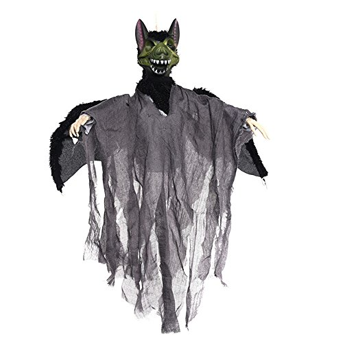 YHOOEE Halloween Decoration Hanging Ghost Creepy Scary Animated Horror Haunted House Props Sound, Eye Glow,Gray]()
