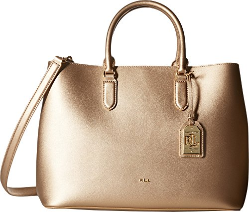 LAUREN Ralph Lauren Women's Dryden Marcy Tote Medium Gold/Birch One - Brown Lauren Bag Ralph