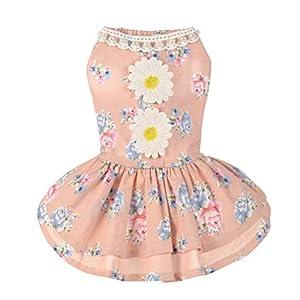 Alroman Dog Dresses Pets Clothes Pink Doggie Harness Dresses Lace Princess Puppy Dresses Pearl Dogs Clothes Pet Elegant Floral Cat Dress D-ring Vest Shirt Sundress Skirt Outfit Costume Apparel (XS)