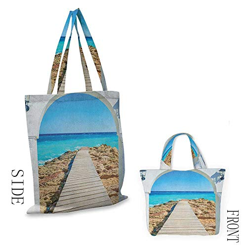 """Tote bag CoastalView from an Open Window Curve on the Sea with a Quay Wooden Coastline Pearl Aqua Blue Cream18""""W x 16""""H"""