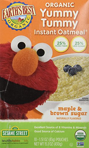 Earths Best 39159 Earths Best Sesame Street Maple and Brown Sugar Instant Oatmeal 15.1 Oz