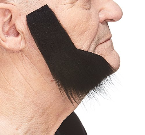 Mustaches Self Adhesive, Novelty, Fake Mutton Chops Sideburns, False Facial Hair, Costume Accessory for Adults, Black Color]()