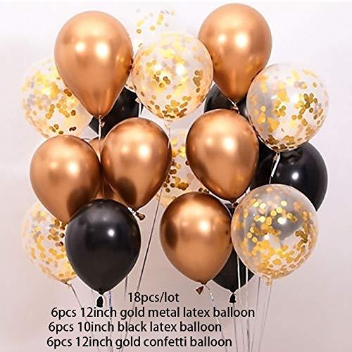BAYUE 18pcs / Set de 12 Pulgadas Cromo del Metal de Oro Confeti ...
