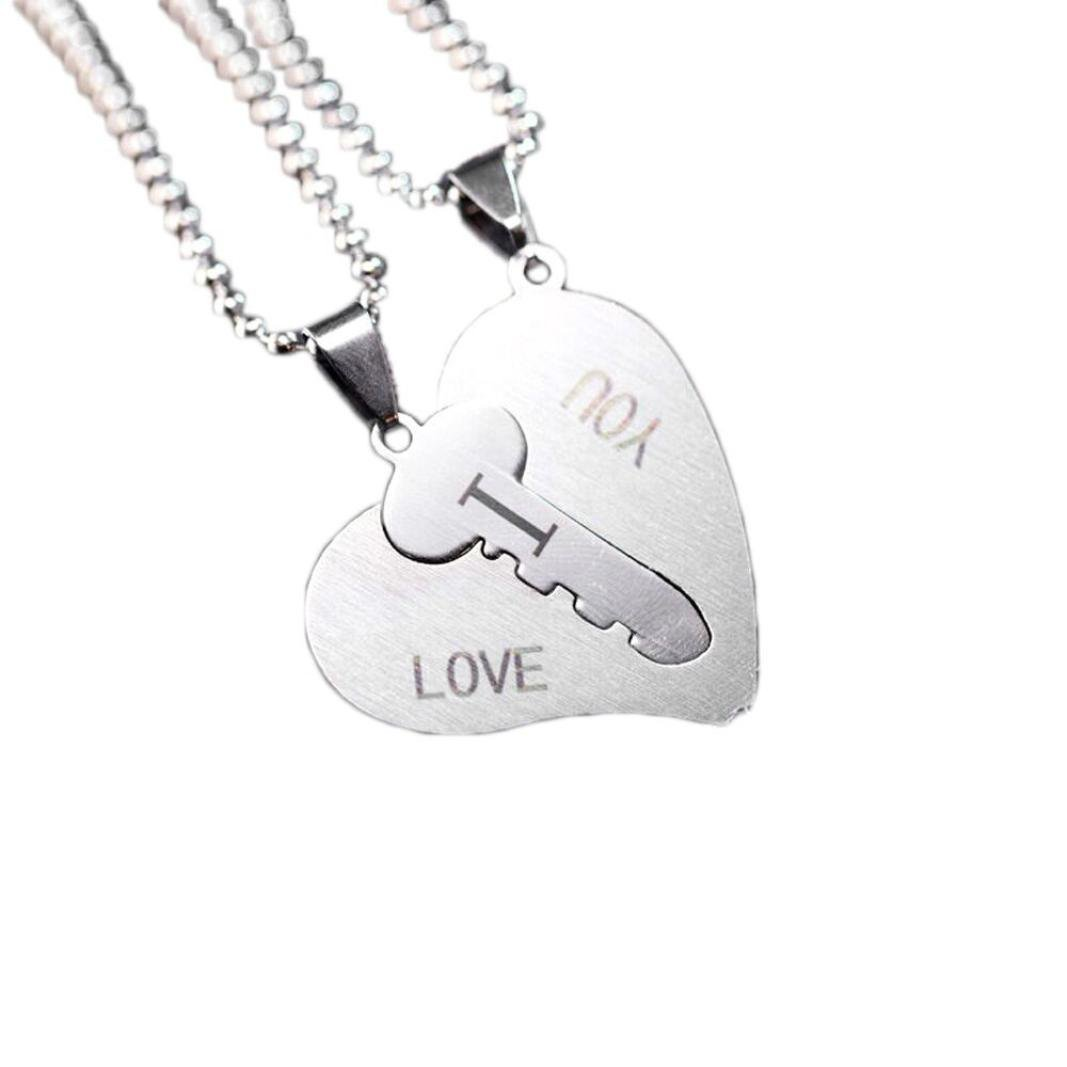Clearance Couple Necklace for His Hers Stainless Steel Heart and Key I Love You Pendants Necklace (Silver)