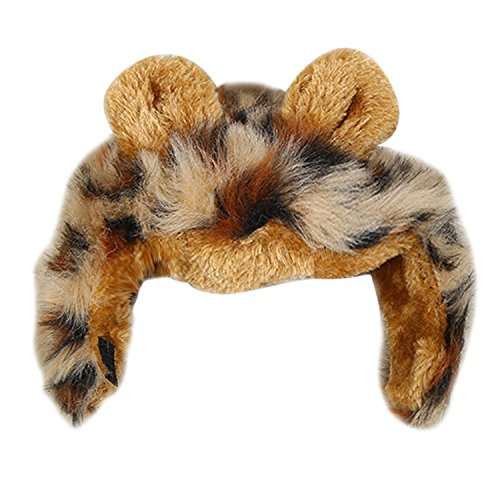 Gosear Pet Cat Dog Costume Wig Cute Funny Lion Mane Wigs with Ears For Festival Party Halloween Dress Leopard Grain (Lion Dog Costume Target)