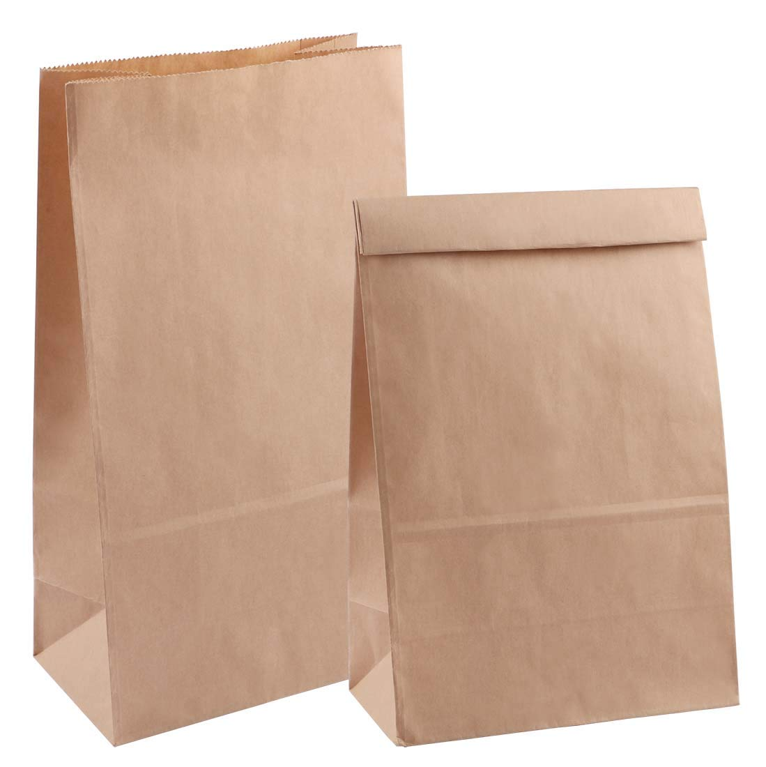 Katkitchen 20-Piece Kraft Paper Lunch Grocery Bags Pouches, 12.5''x7''x4.3'' Take Out Containers Food Storage Bags for Lunch, Shopping, Retail and Merchandise