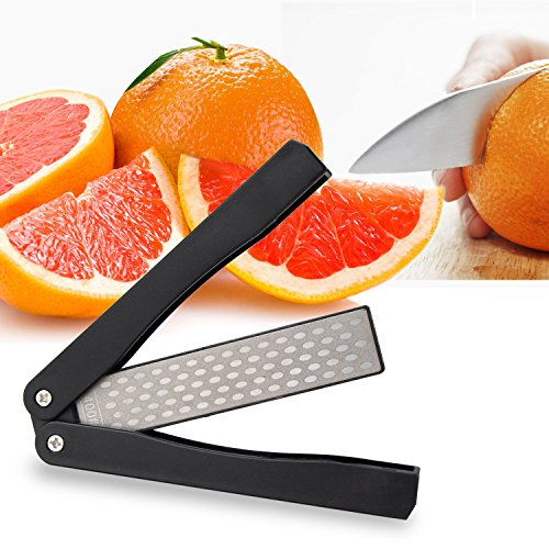 Pocket Knife Sharpener, Sungwoo 400/600grit Double Sided Folding Knife Sharpener Stone for Kitchen, Garden, Outdoor tools (400 Pocket Knife Knives)