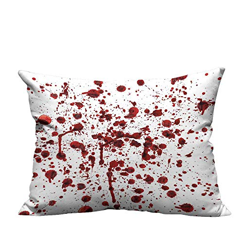 YouXianHome Home Decor Pillowcase of Blood Style Bloodstain Horror Scary Zombie Halloween Themed Print Red White Durable Polyester Fabric(Double-Sided Printing) 11x19.5 inch