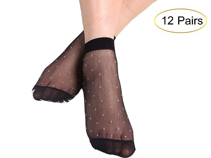 1e9f2eb12b0 Bkvava Women s Polka Dots Sexy Silk Sheer Ankle Hosiery Thin Socks 12 Pairs  Black