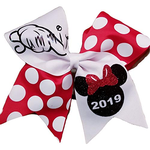 AZBOWS Cheer Bows White and Minnie Polkadot Summit 2019 Hair -