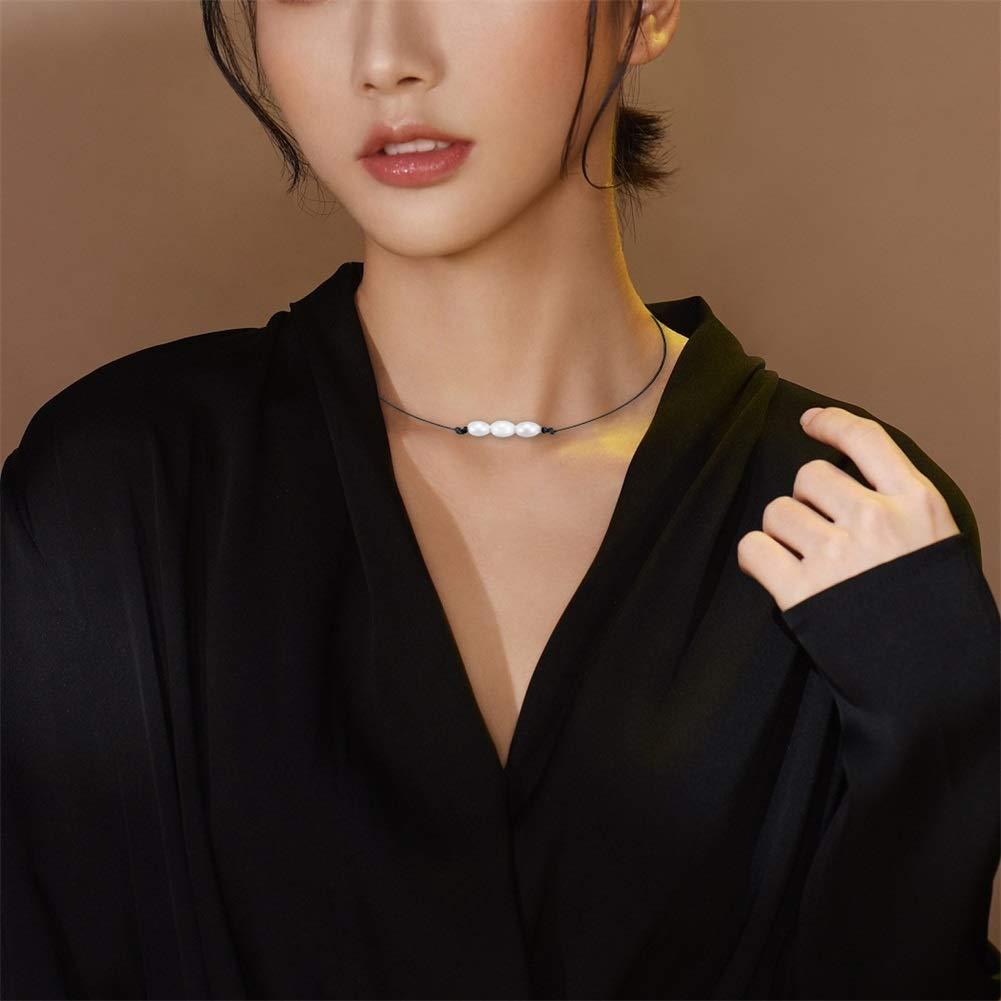 Kuoyue 2 Piezas Collar Gargantilla de Concha de Cowrie 1//3 Perlas Collar Gargantilla Collar de Perlas de Agua Dulce Natural Conjunto de Collar de Cuero