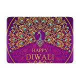 Cooper girl Happy Diwali Peacock Passport Cover Holder Case Leather Protector for Men Women Kid