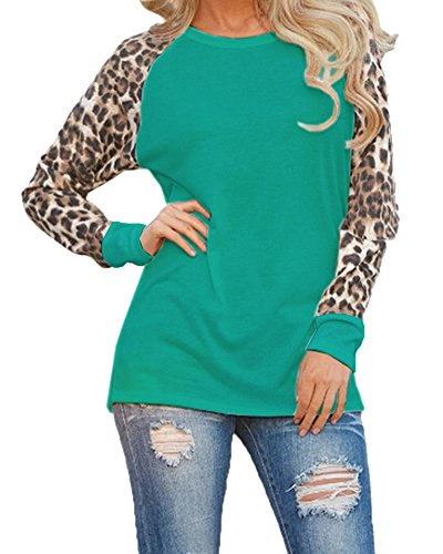 Mujeres Sólido Color Leopardo Manga Larga Cuello Redondo Camisa Blouses Camiseta Pullover Verde