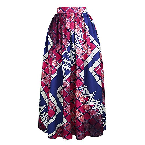 Floral Skirt Front Flat - YSJERA Lady's Pleated Maxi Skirt High Waist A-Line Boho Floral Long Beach Skirts (M, Purple)