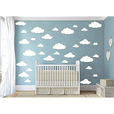 CUGBO 31pcs Big Clouds Vinyl Wall Decals DIY Wall Sticker Removable Wall Art Decor 4-10 inch for Living Room Nursery Kids Room(White): Home & Kitchen