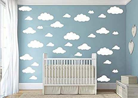 CUGBO 31pcs Big Clouds Vinyl Wall Decals DIY Wall Sticker Removable Wall  Art Decor 4