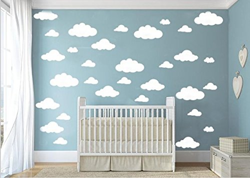 CUGBO 31pcs Big Clouds Vinyl Wall Decals DIY Wall Sticker Removable Wall Art Decor 4-10 inch for Living Room Nursery Kids (Diy Wall Decals)