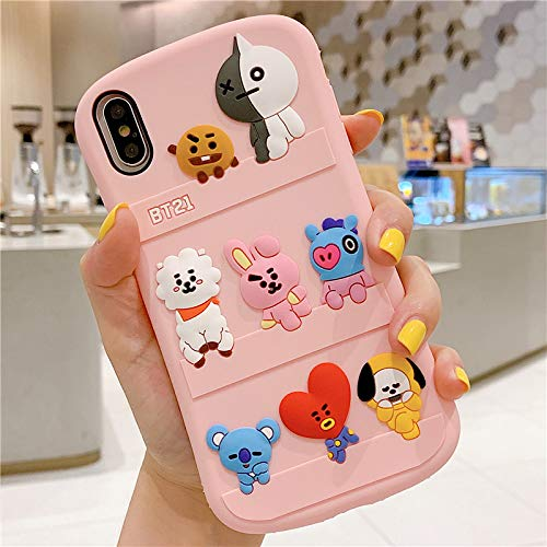 iPhone 7 Plus/iPhone 8 Plus Case,Silicone 3D Cartoon Animal Cover,Kids Girls Boys Cool Slim Fit Cases,Kawaii Soft Gel Rubber BTS Korea Style Case (Pink,iPhone 7 Plus / 8 Plus)