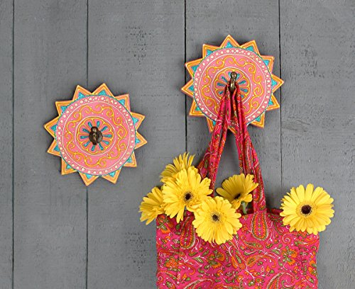 Set of 2 Handmade Wooden Wall Hook Hanging Hanger Painted With Mandala Design Hang Coat Scarves Umbrella & Hat (Country Living Halloween Ideas)