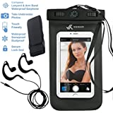 Voxkin ® ★ PREMIUM QUALITY ★ Universal Waterproof Case with WATERPROOF EARPHONE & HEADPHONE JACK ✚ ARMBAND ✚ COMPASS ✚ LANYARD - Best Water Proof Bag for iPhone 6S, 6, 6 Plus, Note 4, S6 or Any Phone