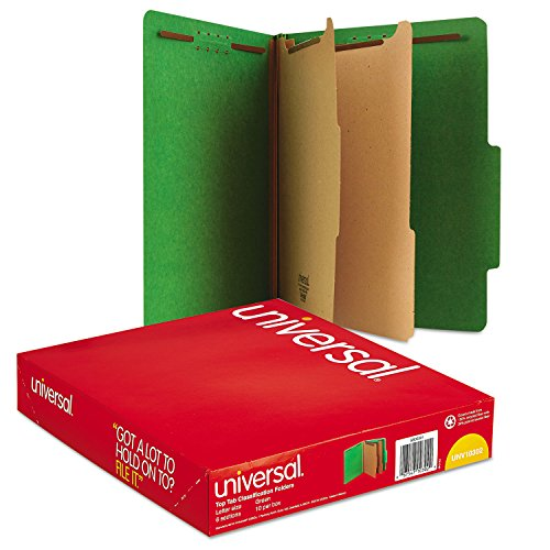 Universal 10302 Pressboard Classification Folders, Letter, Six-Section, Emerald Green, 10/Box
