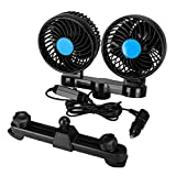 SUPAREE Electric Car Fan 12V 360 Degree Rotatable 4inch 2 Speed Dual Head Air Cooling Fan for Rear Seat Passenger