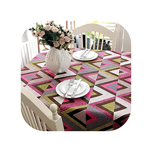 Tablecloths Cotton Thickened Tablecloth Geometry Pattern Color Splicing Washable Christmas Table Cloth for Coffee Dinner Wedding Banquet,A,60 X 60Cm