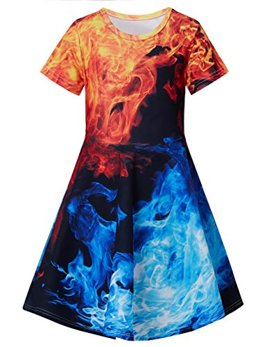 RAISEVERN Girls Short Sleeve Dress 3D Print Cute Blue Fire Colorful Smoke Flame Pattern Summer Dress Casual Swing Theme Birthday Party Sundress Toddler Kids Twirly Skirt]()