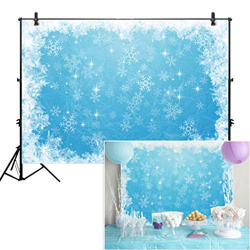 Allenjoy 7x5ft Ice Blue Winter Backdrop for Studio Photography 1st First Birthday Party Decor Banner Festival White Snowflake Snowfall Christmas Background Baby Shower Kids]()
