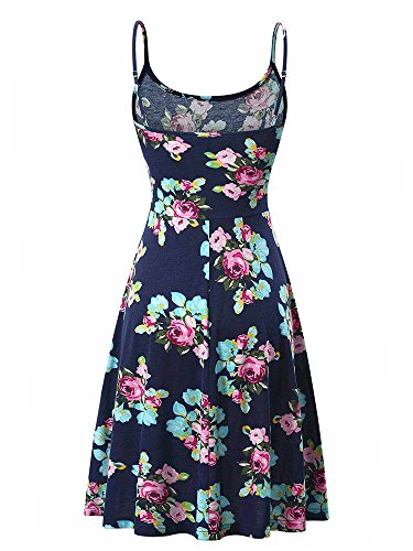Adjustable 11 Women's Flared Floral Dress Sleeveless Swing Fl Summer Strappy Luckco gvadqwa
