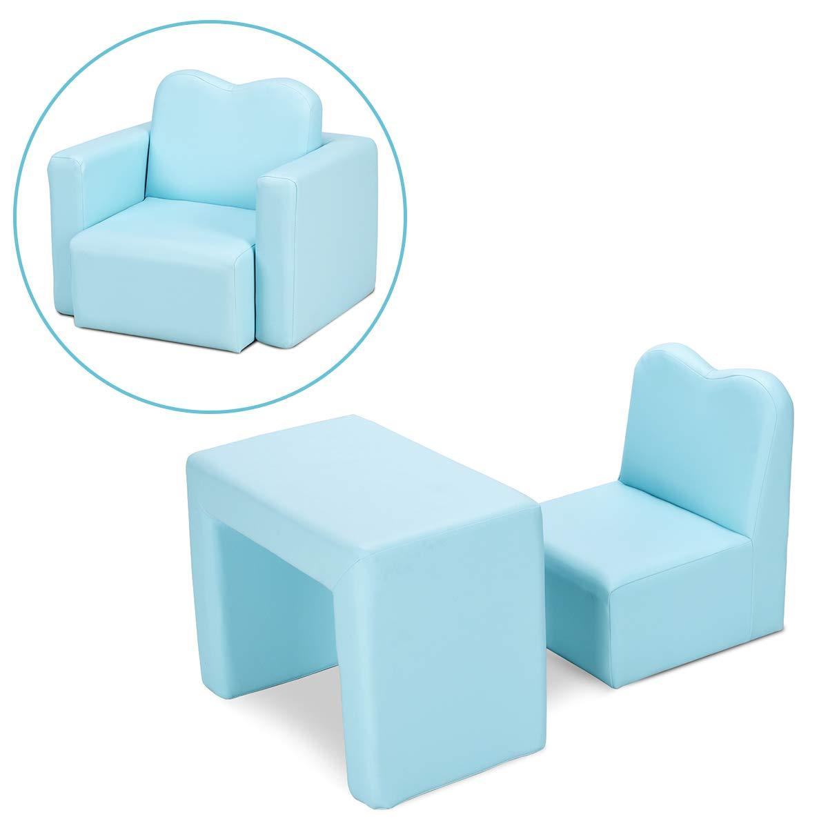 HONEY JOY Kids Sofa, 2-in-1 Multi-Functional Kids Table & Chair Set, Sturdy Wood Construction, Armrest Chair for Boys & Girls (Blue)