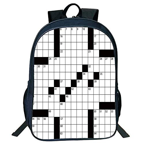 DKFDS Backpacks Unisex School Students Word Search Puzzle,Blank Newspaper Style Crossword Puzzle Numbers in Word Grid Decorative,Black White Kids.