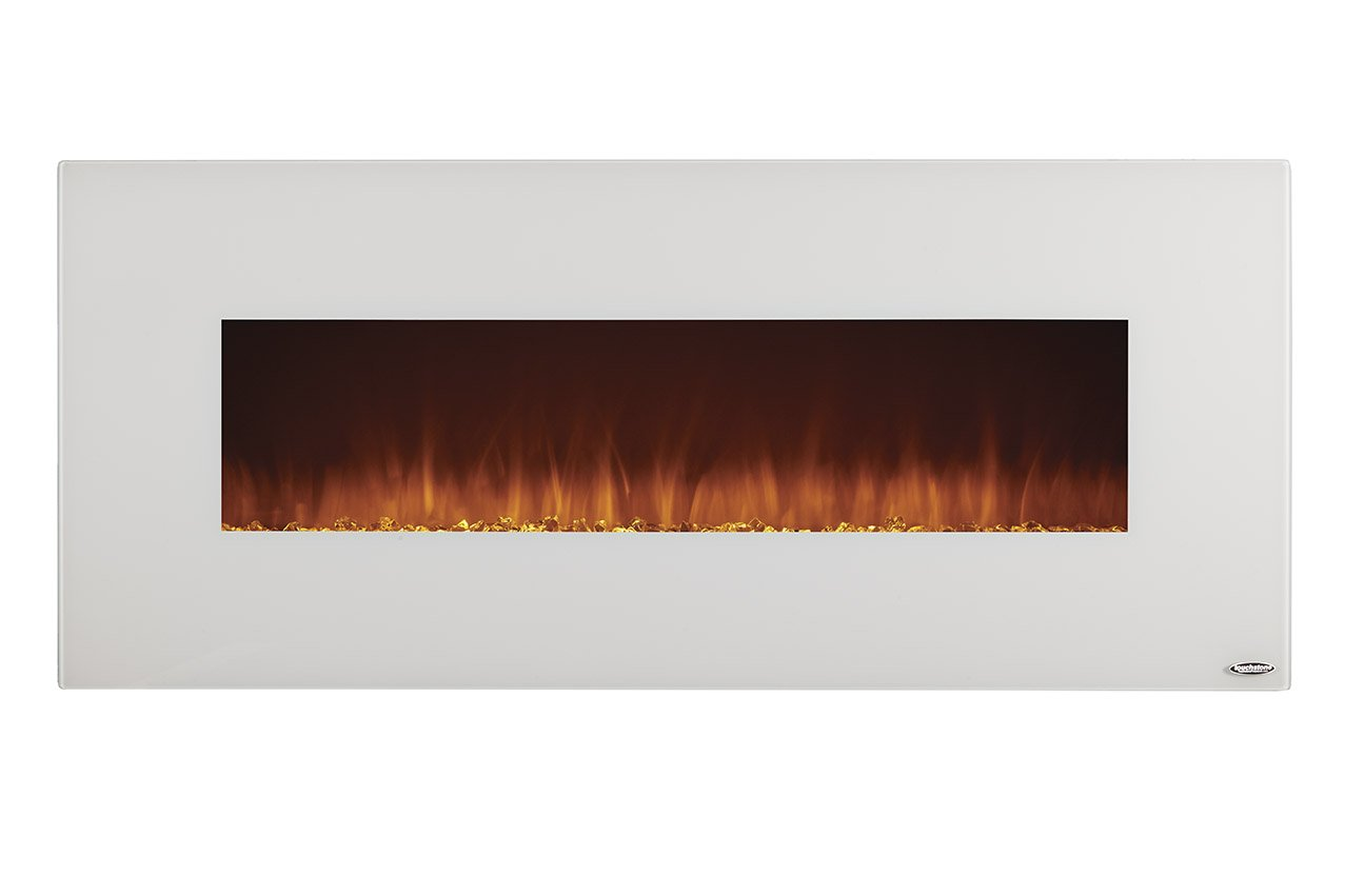 Touchstone Ivory Wall Mounted Heated Electric Fireplace – 50-Inch Log or Crystal Flame
