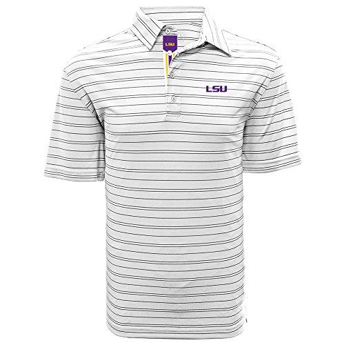 Lsu Tigers Striped Shirt - Levelwear LEY9R NCAA LSU Tigers Men's Deion Banner Stripe Polo, Medium, White/Black