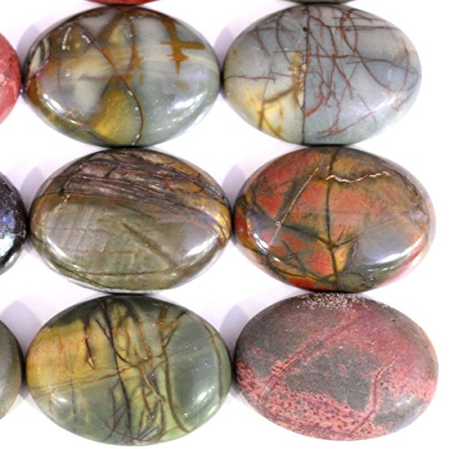 Picasso Jasper Oval Pendant Bead (5pcs Stone Natural Real Gemstones Oval 22*30mm Cabochons for Jewelry Making Beads Cabs (Picasso jasper))